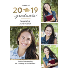 2019 Graduation Announcements 5x7 Cards, Premium Cardstock 120lb with Elegant Corners, Card & Stationery -Graduation 2019 Gold Cap by Tumbalina