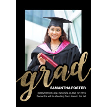 2019 Graduation Announcements 5x7 Cards, Premium Cardstock 120lb with Rounded Corners, Card & Stationery -Grad Bold Script
