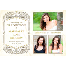 2019 Graduation Announcements 5x7 Cards, Premium Cardstock 120lb with Rounded Corners, Card & Stationery -Intricate Geometric Announcement White by Ha