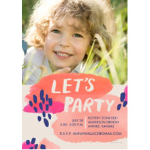 Birthday Party Invites 5x7 Cards, Premium Cardstock 120lb with Scalloped Corners, Card & Stationery -Abstract Let's Party