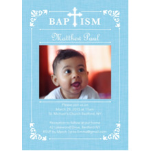 Christening + Baptism Flat Matte Photo Paper Cards with Envelopes, 5x7, Card & Stationery -Baptism Ornate Frame