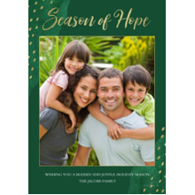 Christmas Photo Cards 5x7 Cards, Premium Cardstock 120lb with Rounded Corners, Card & Stationery -Season of Hope Gold Dots