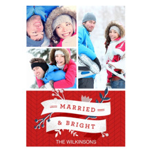 Christmas Photo Cards 5x7 Cards, Premium Cardstock 120lb with Rounded Corners, Card & Stationery -Married & Bright