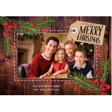 Christmas Photo Cards 5x7 Cards, Premium Cardstock 120lb with Elegant Corners, Card & Stationery -Christmas Tag Pine Berries