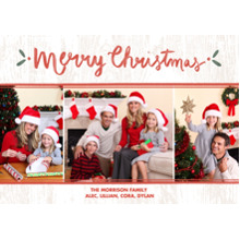 Christmas Photo Cards 5x7 Cards, Premium Cardstock 120lb with Rounded Corners, Card & Stationery -Wintery Wood Christmas Collage