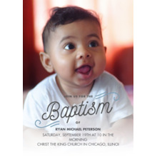 Christening + Baptism Flat Glossy Photo Paper Cards with Envelopes, 5x7, Card & Stationery -Baptism Curl Script