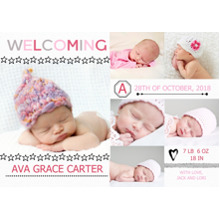 Baby Announcements Set of 20, Premium 5x7 Foil Card, Card & Stationery -Welcoming Girl