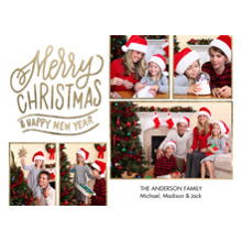 Christmas Photo Cards 5x7 Cards, Premium Cardstock 120lb with Rounded Corners, Card & Stationery -Christmas Gold Borders