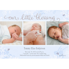 Baby Boy Announcements Flat Glossy Photo Paper Cards with Envelopes, 5x7, Card & Stationery -Our Little Blessing - Blue