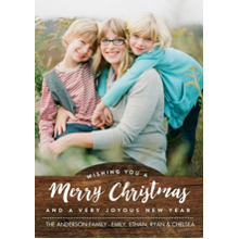 Christmas Photo Cards 5x7 Cards, Premium Cardstock 120lb with Rounded Corners, Card & Stationery -Christmas Rustic White Script