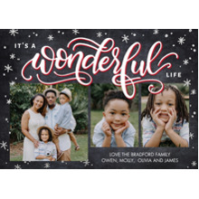 Christmas Photo Cards 5x7 Cards, Premium Cardstock 120lb with Rounded Corners, Card & Stationery -Christmas Wonderful Life by Tumbalina