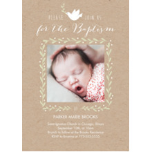 Christening + Baptism 5x7 Cards, Premium Cardstock 120lb with Scalloped Corners, Card & Stationery -Baptismal Dove