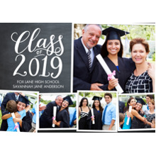 2019 Graduation Announcements 5x7 Cards, Premium Cardstock 120lb with Scalloped Corners, Card & Stationery -2019 Class of Script by Tumbalina