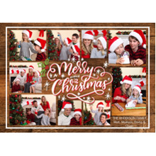 Christmas Photo Cards 5x7 Cards, Premium Cardstock 120lb with Elegant Corners, Card & Stationery -Christmas Woodgrain Collage by Tumbalina