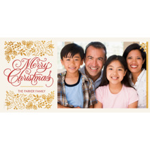 Christmas Photo Cards 4x8 Flat Card Set, 85lb, Card & Stationery -Elegant Christmas and Holly