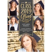 2019 Graduation Announcements 5x7 Cards, Premium Cardstock 120lb with Scalloped Corners, Card & Stationery -Class of 2019 Gold by Tumbalina