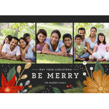 Christmas Photo Cards 5x7 Cards, Premium Cardstock 120lb with Scalloped Corners, Card & Stationery -Be Merry