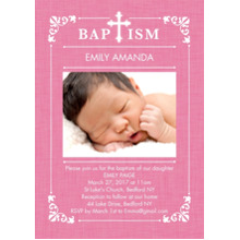 Christening + Baptism 5x7 Cards, Premium Cardstock 120lb, Card & Stationery -Baptism Ornate Frame