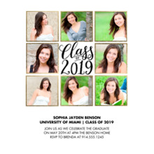 2019 Graduation Announcements 5x7 Cards, Premium Cardstock 120lb with Scalloped Corners, Card & Stationery -2019 Class of Collage by Tumbalina