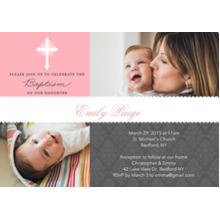 Christening + Baptism Flat Matte Photo Paper Cards with Envelopes, 5x7, Card & Stationery -Baptism Scallop Banner Pink