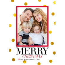 Christmas Photo Cards 5x7 Cards, Premium Cardstock 120lb with Elegant Corners, Card & Stationery -Golden Christmas Dots by Posh Paper