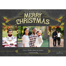 Christmas Photo Cards 5x7 Cards, Premium Cardstock 120lb with Rounded Corners, Card & Stationery -Vintage Merry Christmas