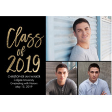 2019 Graduation Announcements 5x7 Cards, Premium Cardstock 120lb with Rounded Corners, Card & Stationery -Grad Class of 2019 Gold by Tumbalina