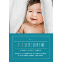 Baby Announcements Flat Glossy Photo Paper Cards with Envelopes, 5x7, Card & Stationery -Embossed Welcome