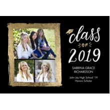 2019 Graduation Announcements 5x7 Cards, Premium Cardstock 120lb with Scalloped Corners, Card & Stationery -2019 Grad Heavy Gold by Tumbalina