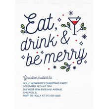 Christmas Party Invitations Flat Matte Photo Paper Cards with Envelopes, 5x7, Card & Stationery -Merry Martini