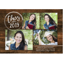 2019 Graduation Announcements 5x7 Cards, Premium Cardstock 120lb with Scalloped Corners, Card & Stationery -2019 Grad Stamp by Tumbalina