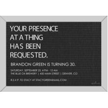 Birthday Party Invites 5x7 Cards, Premium Cardstock 120lb with Elegant Corners, Card & Stationery -Your Presence at a Thing