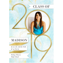 2019 Graduation Announcements 5x7 Cards, Premium Cardstock 120lb with Scalloped Corners, Card & Stationery -2019 Marble Pattern by Hallmark