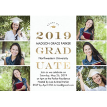 2019 Graduation Announcements 5x7 Cards, Premium Cardstock 120lb with Scalloped Corners, Card & Stationery -2019 Graduate Gold by Tumbalina