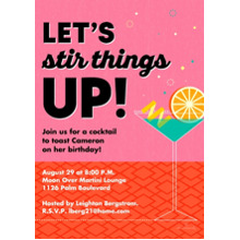 Birthday Party Invites 5x7 Cards, Premium Cardstock 120lb with Rounded Corners, Card & Stationery -Let's Stir Things Up!