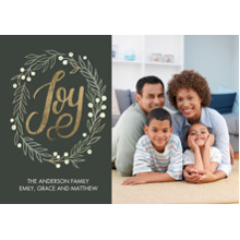 Christmas Photo Cards 5x7 Cards, Premium Cardstock 120lb with Elegant Corners, Card & Stationery -Christmas Joy Wreath