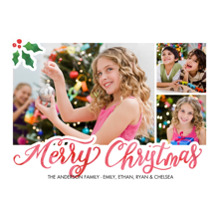 Christmas Photo Cards 5x7 Cards, Premium Cardstock 120lb with Elegant Corners, Card & Stationery -Christmas Holly Corner