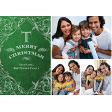 Christmas Photo Cards 5x7 Cards, Premium Cardstock 120lb with Rounded Corners, Card & Stationery -Christmas Ornate Monogram