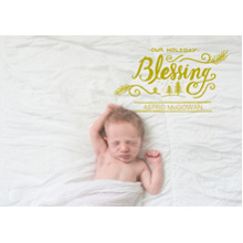 Baby Announcements 5x7 Cards, Premium Cardstock 120lb with Elegant Corners, Card & Stationery -Holiday Blessing