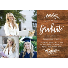 2019 Graduation Announcements 5x7 Cards, Premium Cardstock 120lb with Scalloped Corners, Card & Stationery -2019 Grad Foliage by Tumbalina