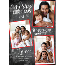 Christmas Photo Cards 5x7 Cards, Premium Cardstock 120lb with Elegant Corners, Card & Stationery -Christmas Snowflakes Red Frames
