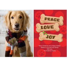 Christmas Photo Cards 5x7 Cards, Premium Cardstock 120lb with Rounded Corners, Card & Stationery -Holiday Peace Love Joy Dog Bone