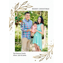 Christmas Photo Cards 5x7 Cards, Premium Cardstock 120lb with Scalloped Corners, Card & Stationery -Christmas Gold Leaves