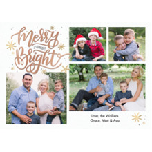 Christmas Photo Cards 5x7 Cards, Premium Cardstock 120lb with Elegant Corners, Card & Stationery -Christmas Merry & Bright Script by Tumbalina