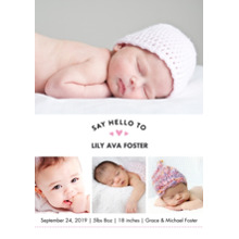Baby Girl Announcements 5x7 Cards, Premium Cardstock 120lb with Rounded Corners, Card & Stationery -Baby Pink Heart Collage