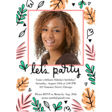 Birthday Party Invites 5x7 Cards, Premium Cardstock 120lb with Rounded Corners, Card & Stationery -Let's Party Leaves Invites