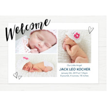 Baby Announcements Set of 20, Premium 5x7 Foil Card, Card & Stationery -Welcome Hearts Frame