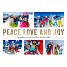 Christmas Photo Cards 5x7 Cards, Premium Cardstock 120lb with Elegant Corners, Card & Stationery -Christmas Peace Love Joy Gold
