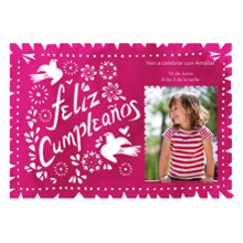 Birthday Party Invites 5x7 Cards, Premium Cardstock 120lb with Rounded Corners, Card & Stationery -Feliz Cumpleanos Pink