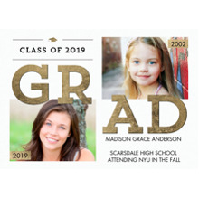 2019 Graduation Announcements 5x7 Cards, Premium Cardstock 120lb with Scalloped Corners, Card & Stationery -2019 Grad Year Banner by Tumbalina